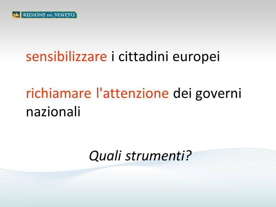sensibilizzare i cittadini europei richiamare l attenzione dei governi nazionali Quali strumenti