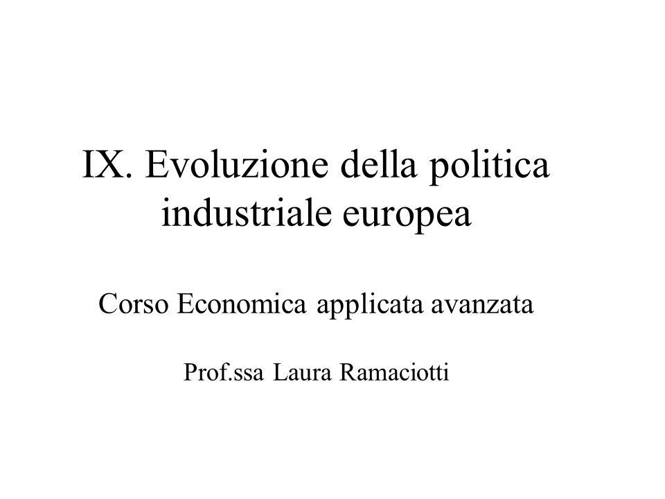 IX. Evoluzione della politica industriale europea Corso Economica applicata avanzata Prof.ssa Laura Ramaciotti