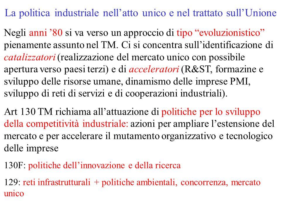 La politica industriale nell'atto unico e nel trattato sull'Unione Negli anni '80 si va verso un approccio di tipo evoluzionistico pienamente assunto nel TM.