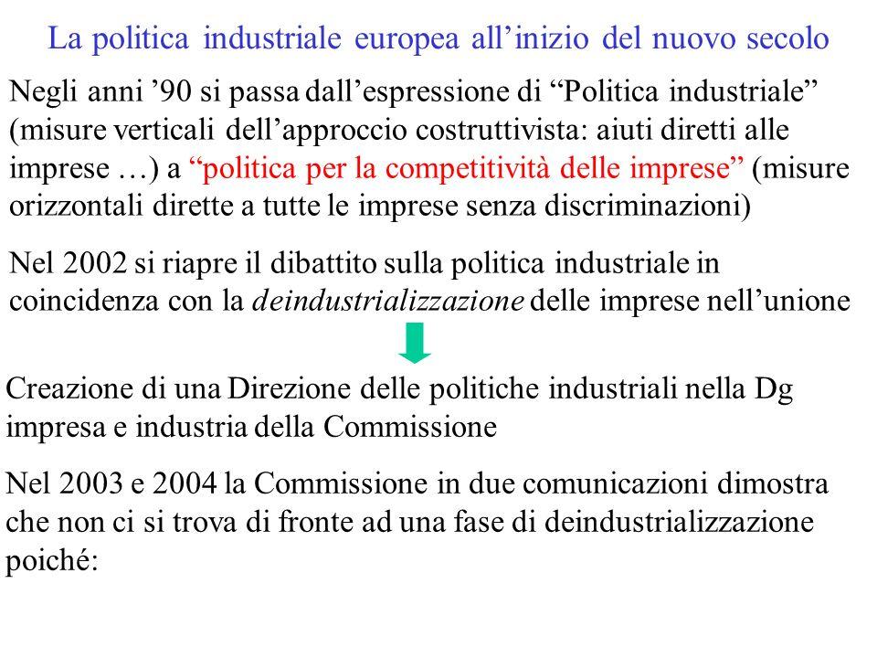 La politica industriale europea all'inizio del nuovo secolo Negli anni '90 si passa dall'espressione di Politica industriale (misure verticali dell'approccio costruttivista: aiuti diretti alle imprese …) a politica per la competitività delle imprese (misure orizzontali dirette a tutte le imprese senza discriminazioni) Nel 2002 si riapre il dibattito sulla politica industriale in coincidenza con la deindustrializzazione delle imprese nell'unione Creazione di una Direzione delle politiche industriali nella Dg impresa e industria della Commissione Nel 2003 e 2004 la Commissione in due comunicazioni dimostra che non ci si trova di fronte ad una fase di deindustrializzazione poiché: