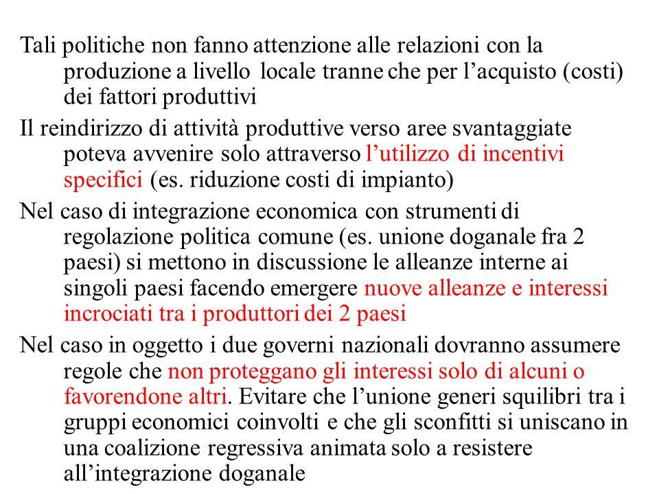 Tali politiche non fanno attenzione alle relazioni con la produzione a livello locale tranne che per l'acquisto (costi) dei fattori produttivi Il reindirizzo di attività produttive verso aree svantaggiate poteva avvenire solo attraverso l'utilizzo di incentivi specifici (es.