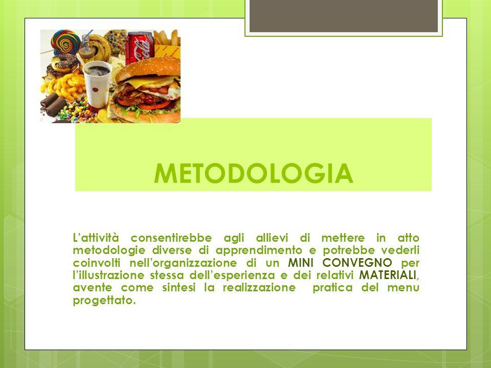 METODOLOGIA L'attività consentirebbe agli allievi di mettere in atto metodologie diverse di apprendimento e potrebbe vederli coinvolti nell'organizzazione di un MINI CONVEGNO per l'illustrazione stessa dell'esperienza e dei relativi MATERIALI, avente come sintesi la realizzazione pratica del menu progettato.