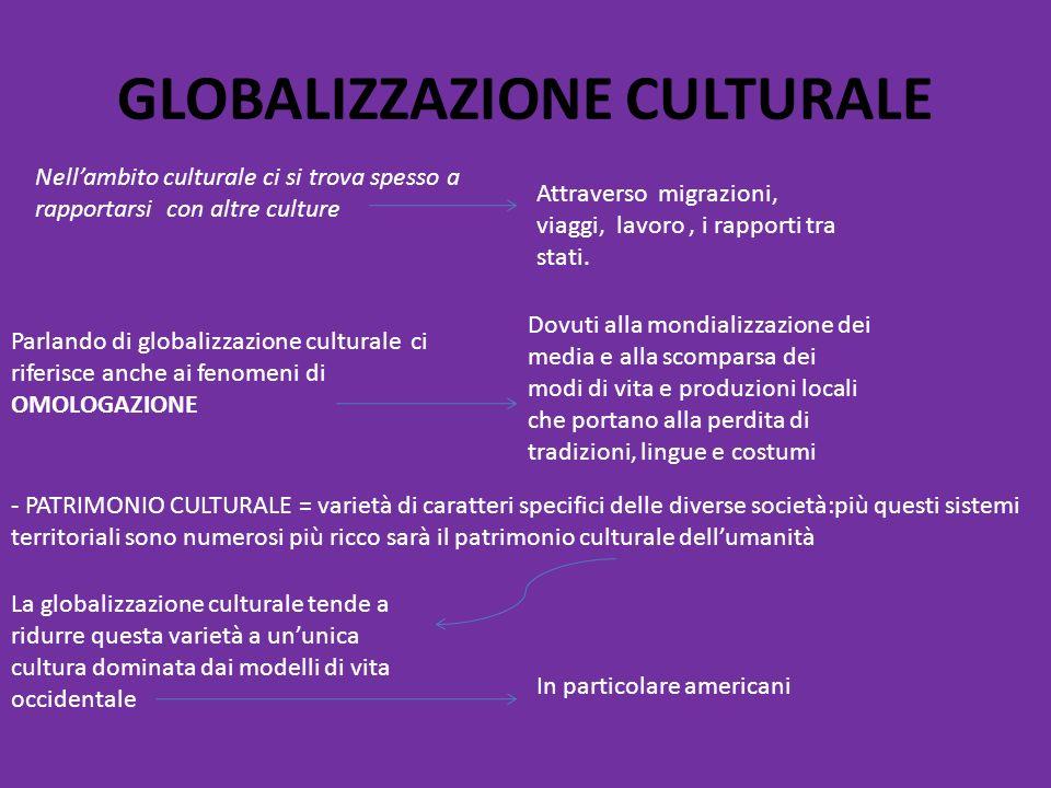 GLOBALIZZAZIONE CULTURALE Nell'ambito culturale ci si trova spesso a rapportarsi con altre culture Attraverso migrazioni, viaggi, lavoro, i rapporti t