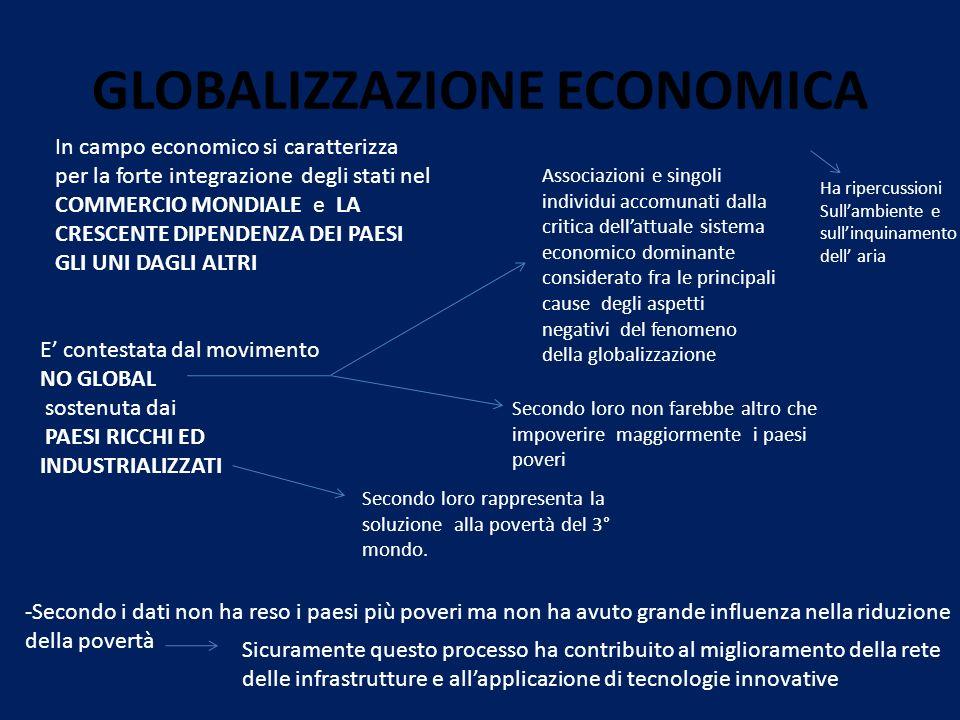 GLOBALIZZAZIONE ECONOMICA In campo economico si caratterizza per la forte integrazione degli stati nel COMMERCIO MONDIALE e LA CRESCENTE DIPENDENZA DE