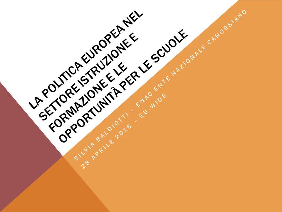 PRESENTAZIONE 1.Parole chiave utilizzate dall'UE nel settore dell'educazione e della formazione 2.Prospettiva storica dello sviluppo di una cooperazione europea nel campo dell'educazione e della formazione 3.Ruolo dell'UE nella politica educativa 4.Strategie e priorità dell'UE nel settore educativo 5.Opportunità per le scuole