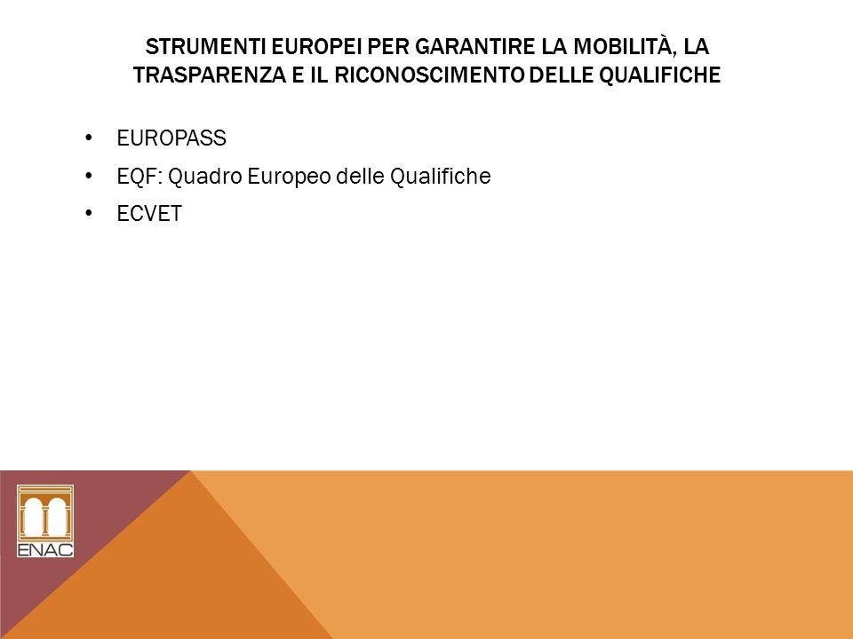 STRUMENTI EUROPEI PER GARANTIRE LA MOBILITÀ, LA TRASPARENZA E IL RICONOSCIMENTO DELLE QUALIFICHE EUROPASS EQF: Quadro Europeo delle Qualifiche ECVET