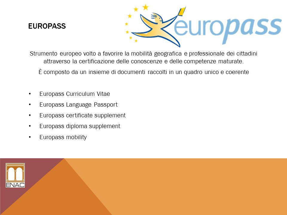 EUROPASS Strumento europeo volto a favorire la mobilità geografica e professionale dei cittadini attraverso la certificazione delle conoscenze e delle competenze maturate.