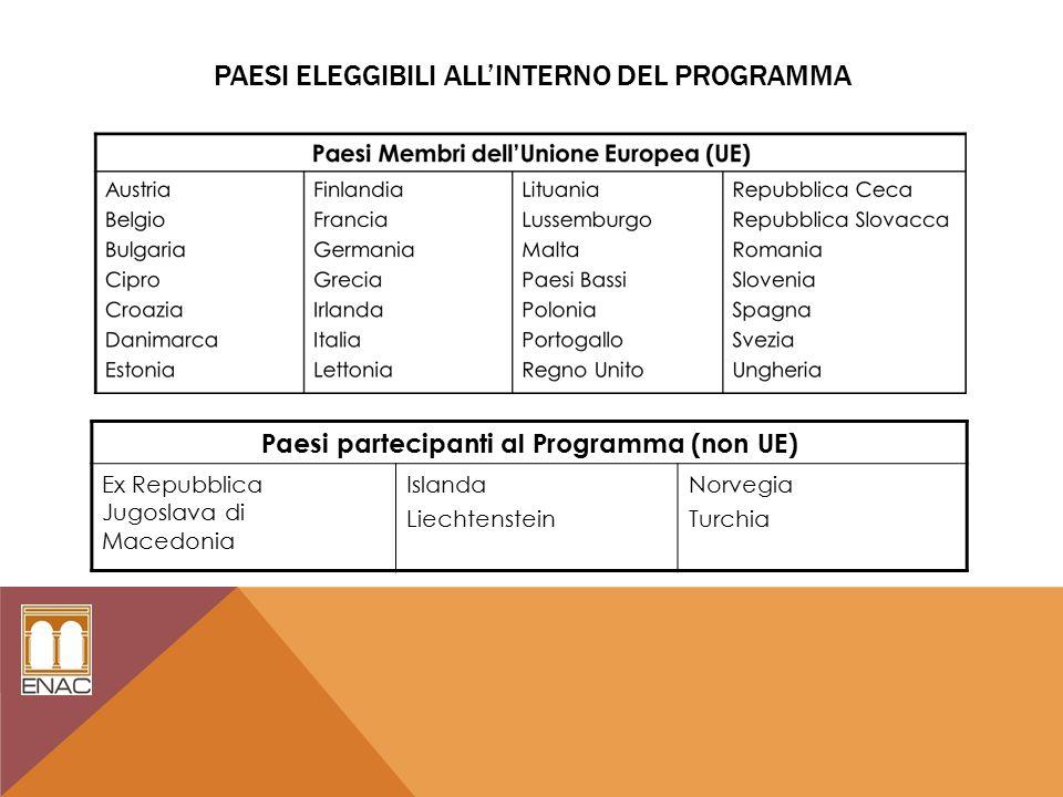 PAESI ELEGGIBILI ALL'INTERNO DEL PROGRAMMA Paesi partecipanti al Programma (non UE) Ex Repubblica Jugoslava di Macedonia Islanda Liechtenstein Norvegia Turchia