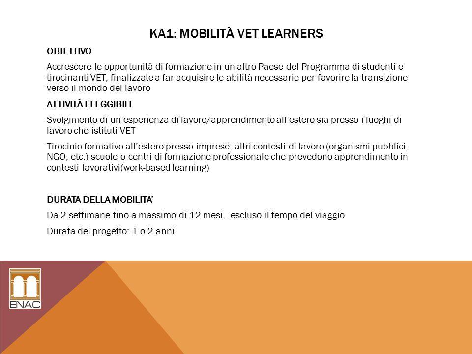 KA1: MOBILITÀ VET LEARNERS OBIETTIVO Accrescere le opportunità di formazione in un altro Paese del Programma di studenti e tirocinanti VET, finalizzate a far acquisire le abilità necessarie per favorire la transizione verso il mondo del lavoro ATTIVITÀ ELEGGIBILI Svolgimento di un'esperienza di lavoro/apprendimento all'estero sia presso i luoghi di lavoro che istituti VET Tirocinio formativo all'estero presso imprese, altri contesti di lavoro (organismi pubblici, NGO, etc.) scuole o centri di formazione professionale che prevedono apprendimento in contesti lavorativi(work-based learning) DURATA DELLA MOBILITA' Da 2 settimane fino a massimo di 12 mesi, escluso il tempo del viaggio Durata del progetto: 1 o 2 anni