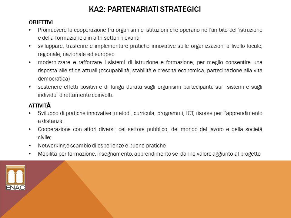 KA2: PARTENARIATI STRATEGICI OBIETTIVI Promuovere la cooperazione fra organismi e istituzioni che operano nell'ambito dell'istruzione e della formazione o in altri settori rilevanti sviluppare, trasferire e implementare pratiche innovative sulle organizzazioni a livello locale, regionale, nazionale ed europeo modernizzare e rafforzare i sistemi di istruzione e formazione, per meglio consentire una risposta alle sfide attuali (occupabilità, stabilità e crescita economica, partecipazione alla vita democratica) sostenere effetti positivi e di lunga durata sugli organismi partecipanti, sui sistemi e sugli individui direttamente coinvolti.