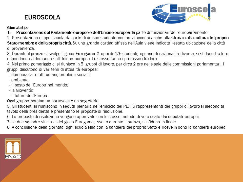 EUROSCOLA Giornata tipo 1.Presentazione del Parlamento europeo e dell Unione europea da parte di funzionari dell europarlamento.