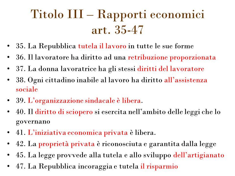 Titolo III – Rapporti economici art. 35-47 35.