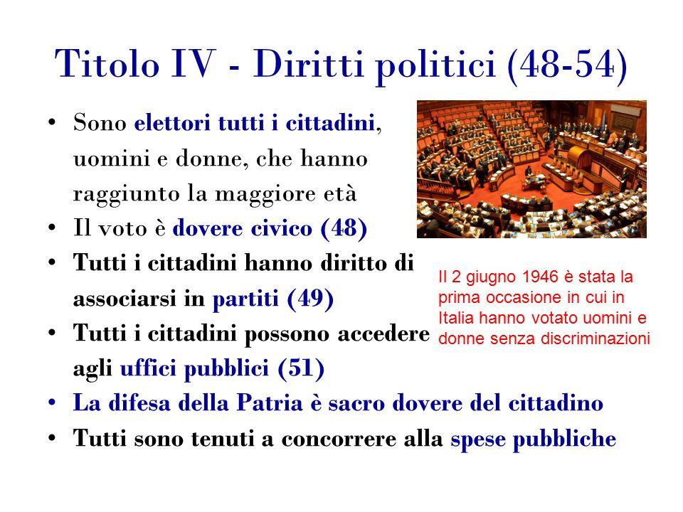 Titolo IV - Diritti politici (48-54) Sono elettori tutti i cittadini, uomini e donne, che hanno raggiunto la maggiore età Il voto è dovere civico (48) Tutti i cittadini hanno diritto di associarsi in partiti (49) Tutti i cittadini possono accedere agli uffici pubblici (51) La difesa della Patria è sacro dovere del cittadino Tutti sono tenuti a concorrere alla spese pubbliche Il 2 giugno 1946 è stata la prima occasione in cui in Italia hanno votato uomini e donne senza discriminazioni