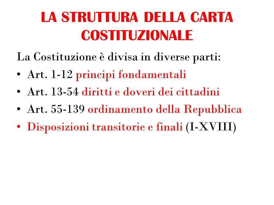 LA STRUTTURA DELLA CARTA COSTITUZIONALE La Costituzione è divisa in diverse parti: Art.