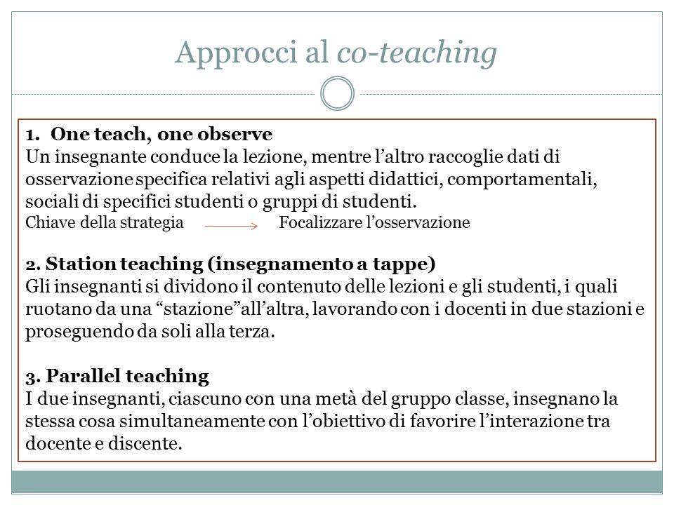 1.One teach, one observe Un insegnante conduce la lezione, mentre l'altro raccoglie dati di osservazione specifica relativi agli aspetti didattici, comportamentali, sociali di specifici studenti o gruppi di studenti.