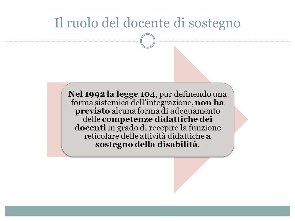 Nel 1992 la legge 104, pur definendo una forma sistemica dell'integrazione, non ha previsto alcuna forma di adeguamento delle competenze didattiche dei docenti in grado di recepire la funzione reticolare delle attività didattiche a sostegno della disabilità.