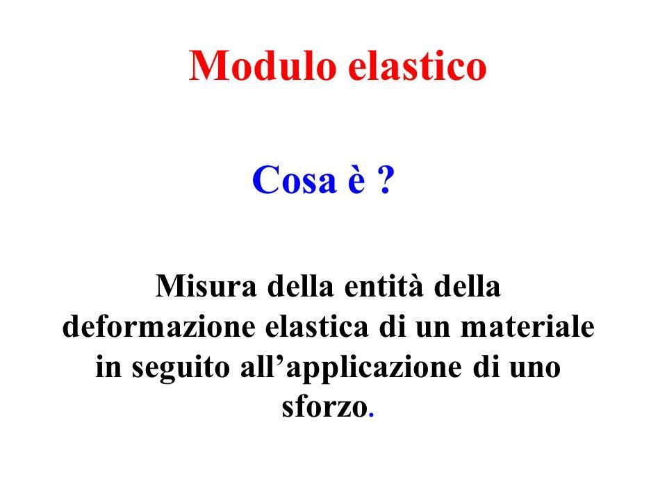 Modulo elastico Misura della entità della deformazione elastica di un materiale in seguito all'applicazione di uno sforzo. Cosa è ?