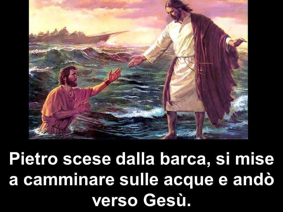 Pietro scese dalla barca, si mise a camminare sulle acque e andò verso Gesù.