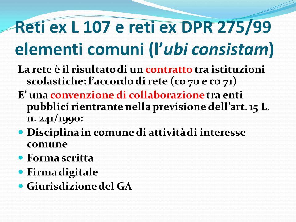 Reti ex L 107 e reti ex DPR 275/99 elementi comuni (l'ubi consistam) La rete è il risultato di un contratto tra istituzioni scolastiche: l'accordo di rete (co 70 e co 71) E' una convenzione di collaborazione tra enti pubblici rientrante nella previsione dell'art.