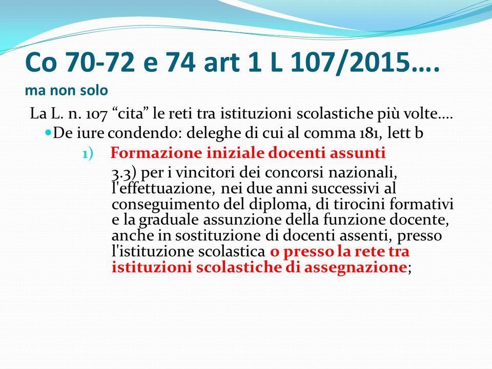 Co 70-72 e 74 art 1 L 107/2015…. ma non solo La L.