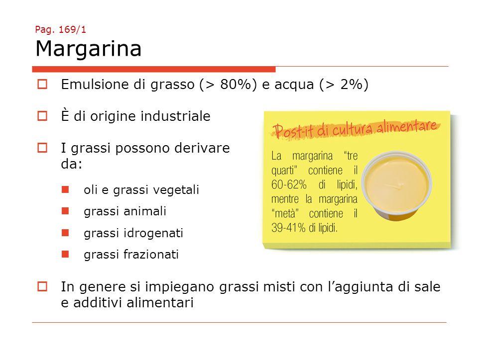 Pag. 169/1 Margarina  Emulsione di grasso (> 80%) e acqua (> 2%)  È di origine industriale  I grassi possono derivare da: oli e grassi vegetali gra