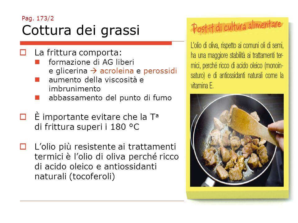 Pag. 173/2 Cottura dei grassi  La frittura comporta: formazione di AG liberi e glicerina  acroleina e perossidi aumento della viscosità e imbrunimen