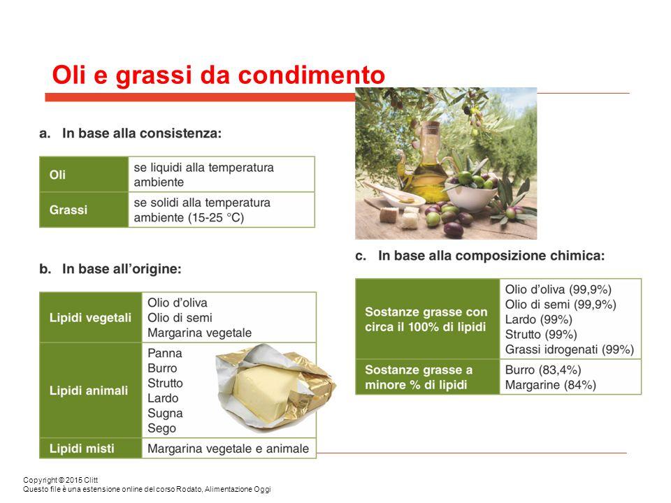 Oli e grassi da condimento Copyright © 2015 Clitt Questo file è una estensione online del corso Rodato, Alimentazione Oggi