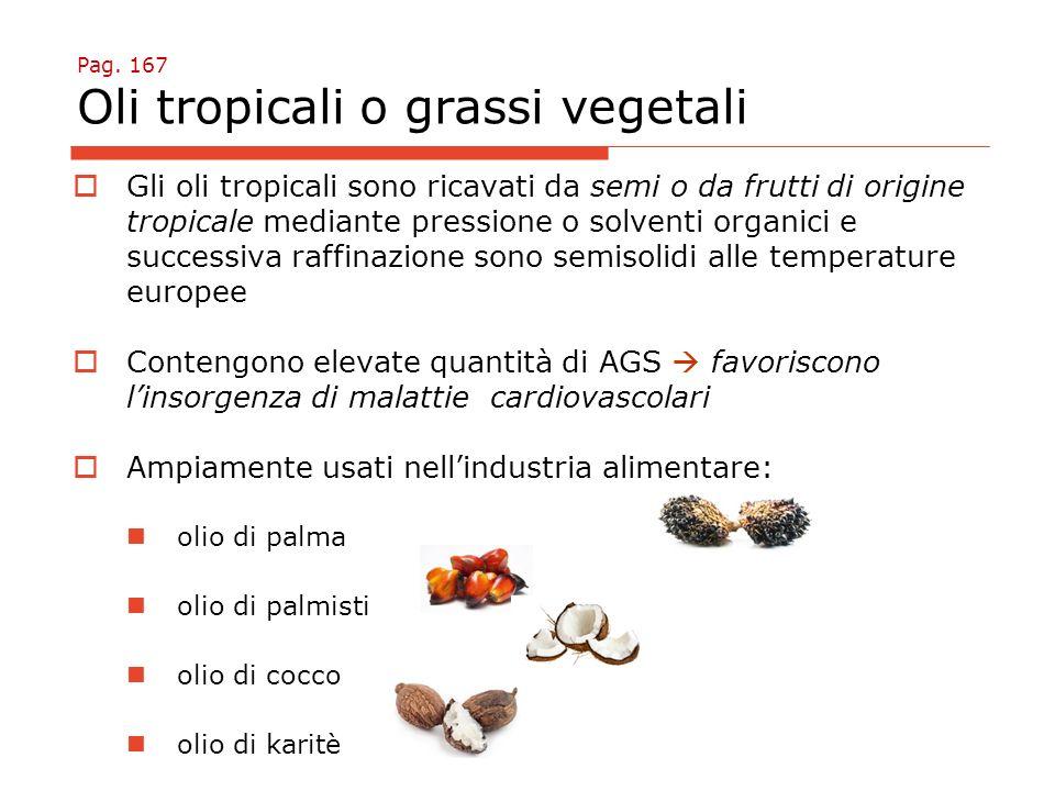 Pag. 167 Oli tropicali o grassi vegetali  Gli oli tropicali sono ricavati da semi o da frutti di origine tropicale mediante pressione o solventi orga