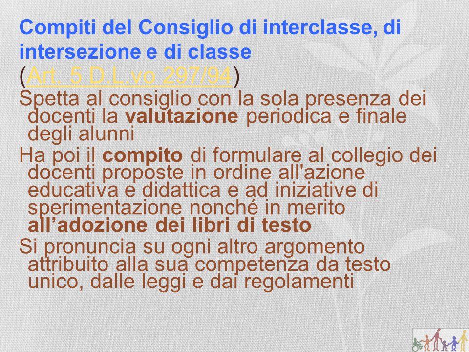 Compiti del Consiglio di interclasse, di intersezione e di classe (Art.