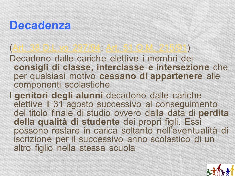Decadenza (Art. 38 D.L.vo 297/94; Art. 51 O.M. 215/91)Art.