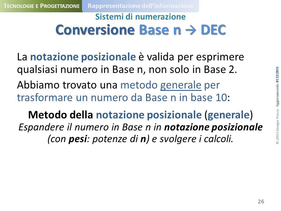 © 2015 Giorgio Porcu - Aggiornamennto 01/12/2015 T ECNOLOGIE E P ROGETTAZIONE Rappresentazione dell'informazione Sistemi di numerazione La notazione posizionale è valida per esprimere qualsiasi numero in Base n, non solo in Base 2.