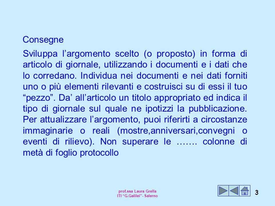 prof.ssa Laura Grella ITI G.Galilei - Salerno 3 Consegne Sviluppa l'argomento scelto (o proposto) in forma di articolo di giornale, utilizzando i documenti e i dati che lo corredano.