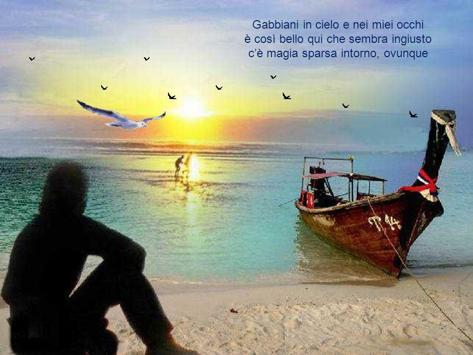 Ecco, esco di nuovo verso il mare la luce del sole riempie i miei capelli e i sogni resistono nell'aria