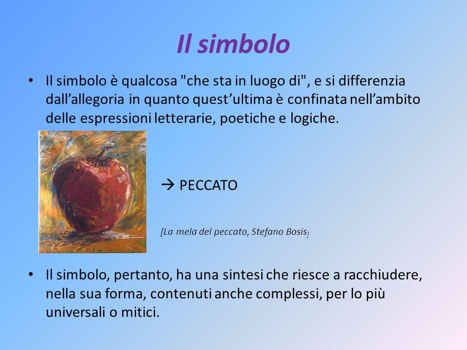 Il simbolo Il simbolo è qualcosa che sta in luogo di , e si differenzia dallallegoria in quanto questultima è confinata nellambito delle espressioni letterarie, poetiche e logiche.