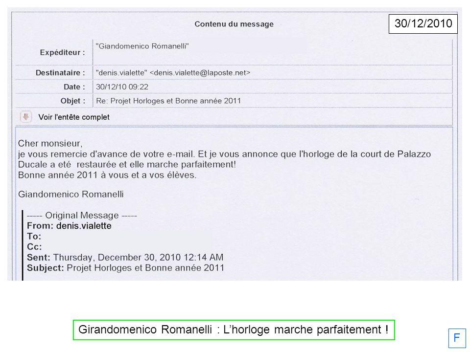F Girandomenico Romanelli : Lhorloge marche parfaitement ! 30/12/2010