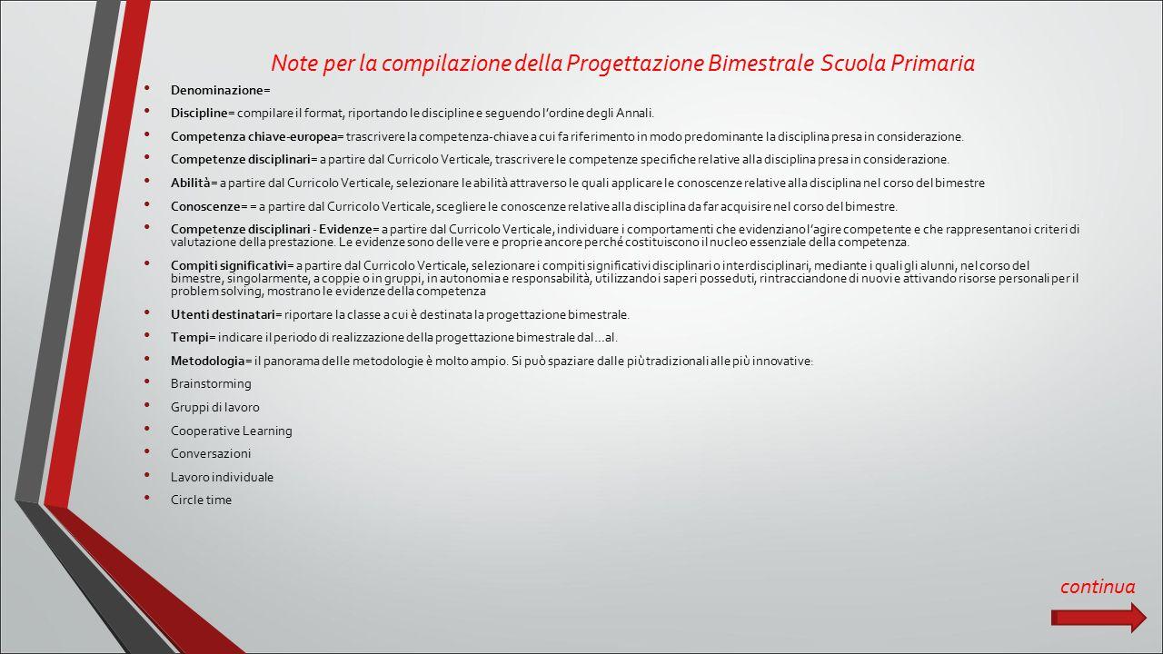 Note per la compilazione della Progettazione Bimestrale Scuola Primaria Denominazione= Discipline= compilare il format, riportando le discipline e seguendo l'ordine degli Annali.