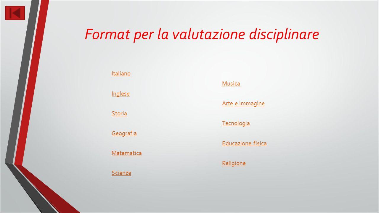 Format per la valutazione disciplinare Italiano Inglese Storia Geografia Matematica Scienze Musica Arte e immagine Tecnologia Educazione fisica Religione