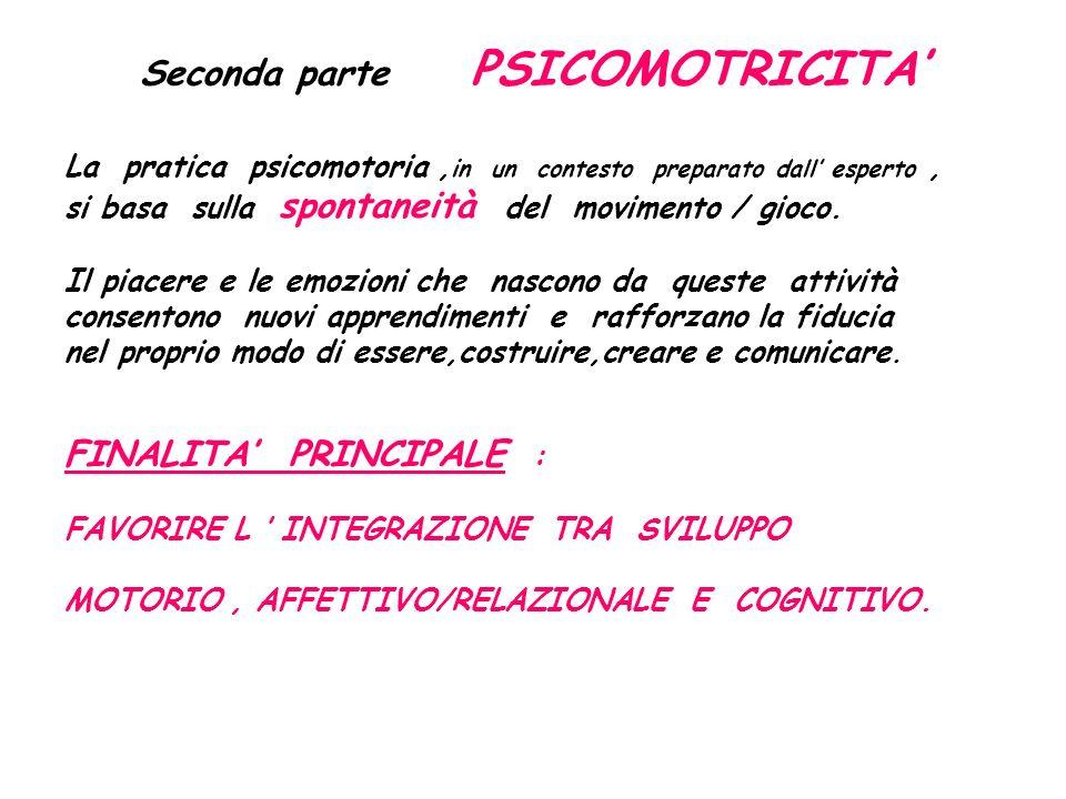 Seconda parte PSICOMOTRICITA' La pratica psicomotoria, in un contesto preparato dall' esperto, si basa sulla spontaneità del movimento / gioco.