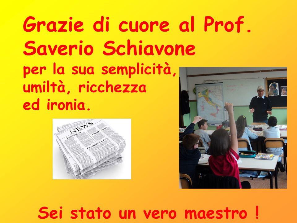 Grazie di cuore al Prof. Saverio Schiavone per la sua semplicità, umiltà, ricchezza ed ironia.