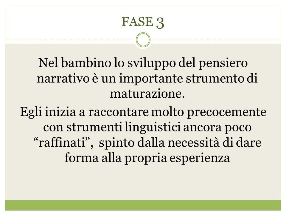 FASE 3 Nel bambino lo sviluppo del pensiero narrativo è un importante strumento di maturazione.