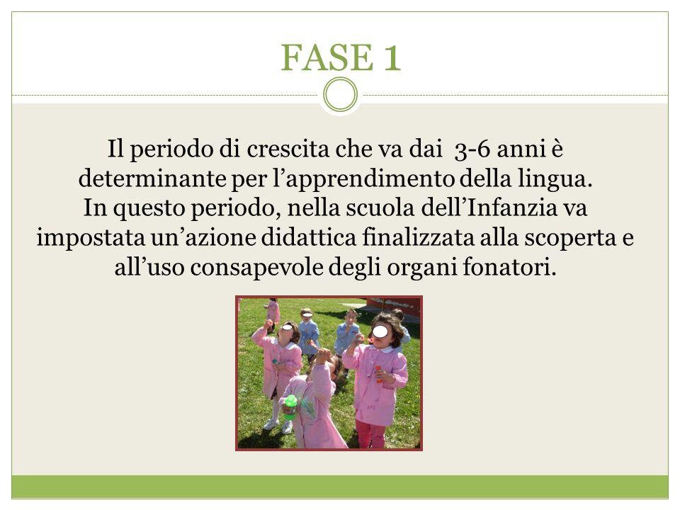 FASE 1 Il periodo di crescita che va dai 3-6 anni è determinante per l'apprendimento della lingua.