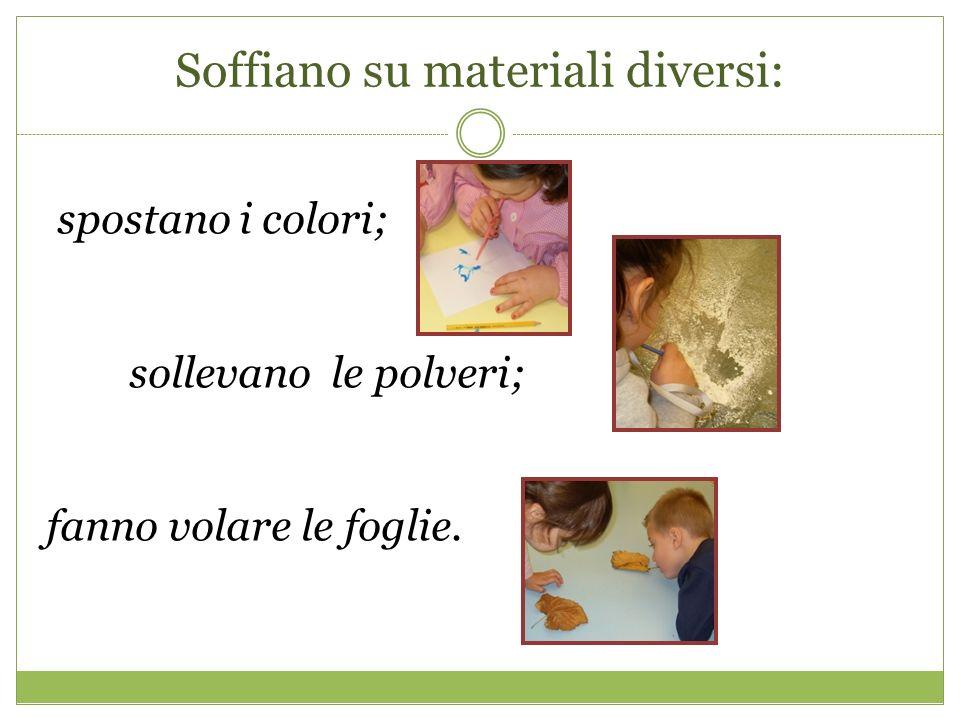 Soffiano su materiali diversi: spostano i colori; sollevano le polveri; fanno volare le foglie.