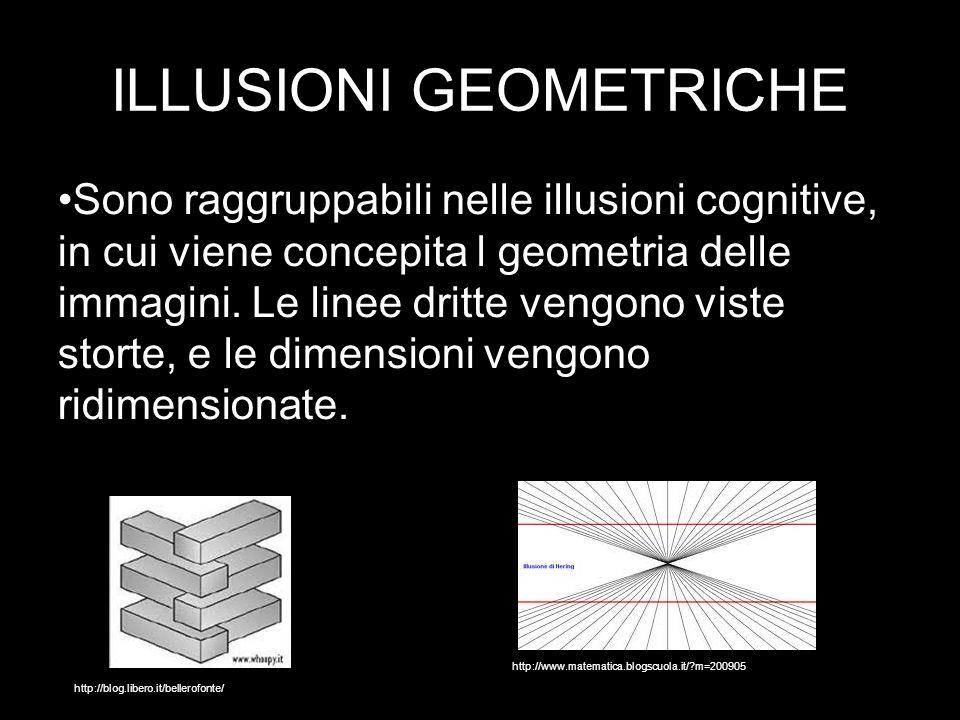 ILLUSIONI GEOMETRICHE Sono raggruppabili nelle illusioni cognitive, in cui viene concepita l geometria delle immagini.