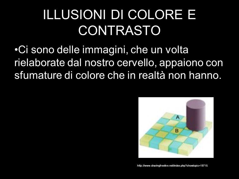 ILLUSIONI DI COLORE E CONTRASTO Ci sono delle immagini, che un volta rielaborate dal nostro cervello, appaiono con sfumature di colore che in realtà non hanno.