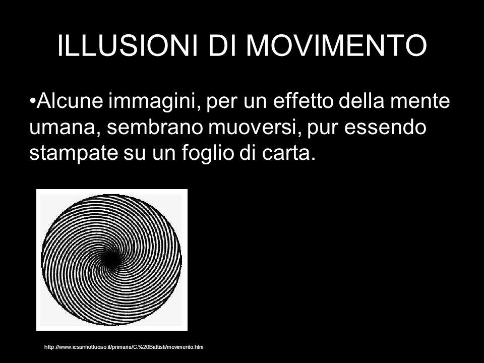 ILLUSIONI DI MOVIMENTO Alcune immagini, per un effetto della mente umana, sembrano muoversi, pur essendo stampate su un foglio di carta.