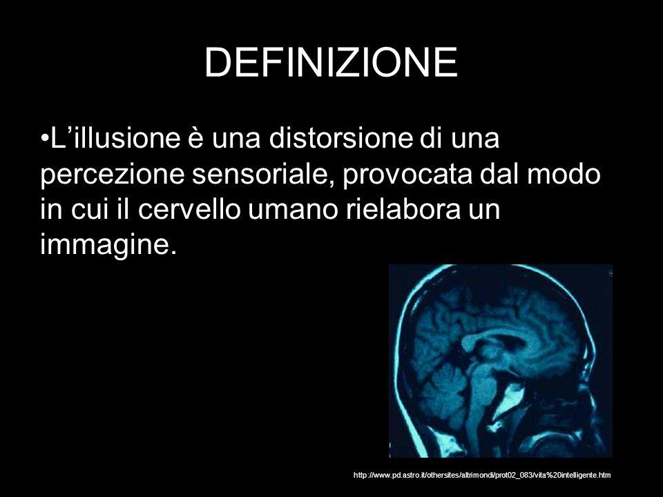 DEFINIZIONE L'illusione è una distorsione di una percezione sensoriale, provocata dal modo in cui il cervello umano rielabora un immagine.