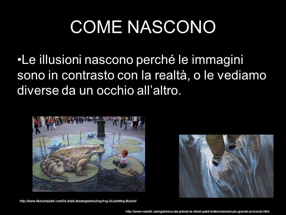 COME NASCONO Le illusioni nascono perché le immagini sono in contrasto con la realtà, o le vediamo diverse da un occhio all'altro.