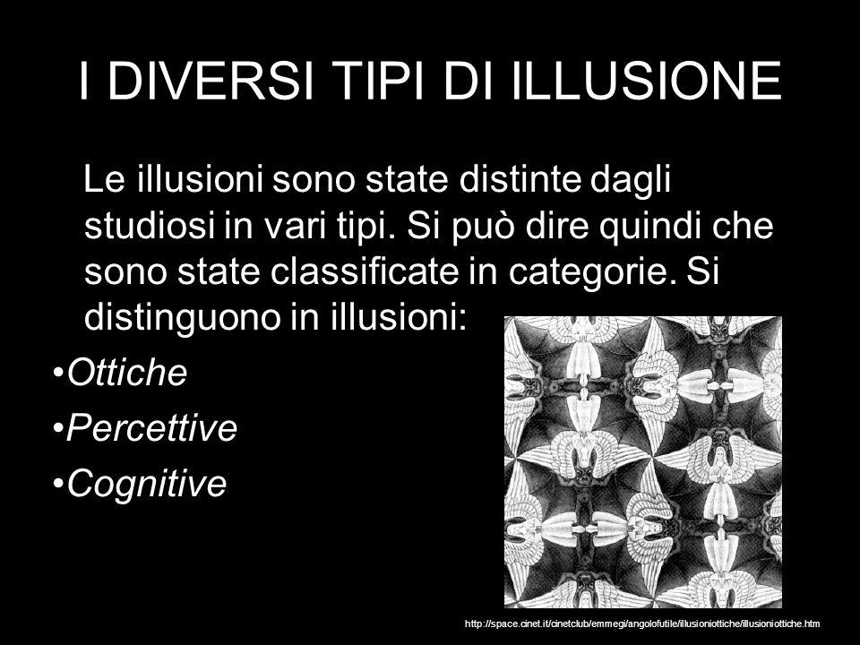 I DIVERSI TIPI DI ILLUSIONE Le illusioni sono state distinte dagli studiosi in vari tipi.