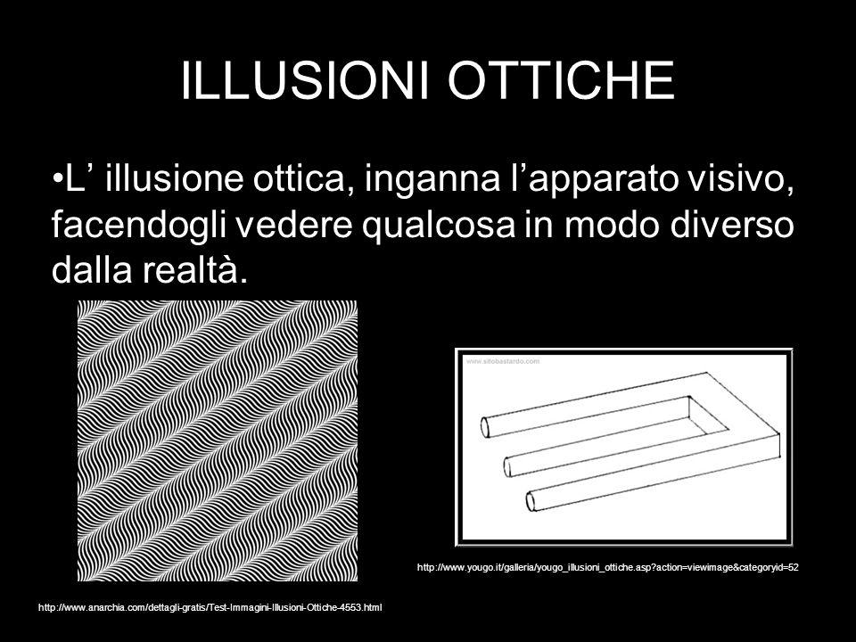 ILLUSIONI OTTICHE L' illusione ottica, inganna l'apparato visivo, facendogli vedere qualcosa in modo diverso dalla realtà.