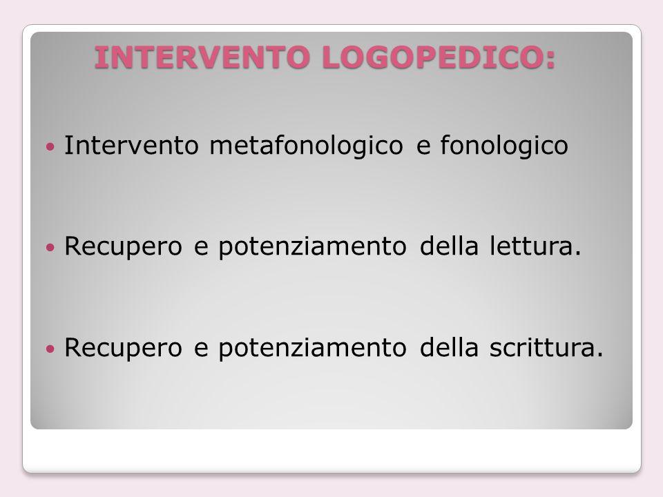 INTERVENTO LOGOPEDICO: Intervento metafonologico e fonologico Recupero e potenziamento della lettura.